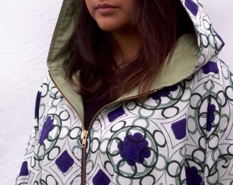PRICE REDUCED and Free Shipping.   Parka Style Jacket in African cotton fabric