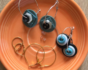 Hoop Earrings of Vintage Buttons - Turquoise White Black - Interchangeable Kit - 2 Pair - FREE SHIPPING