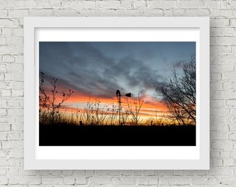 Sunset Photography, Sunset Art, Sunset Photo, Sunset Pictures, Windmill Art, Windmill Pictures, Texas Photography, Texas Pictures, Wall Art