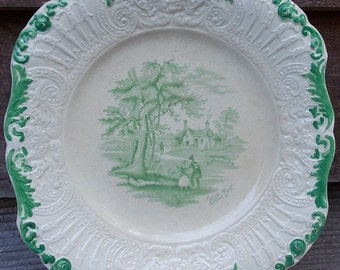 Antique Ridgeways Dinner Plate ~ Humphrey's Clock ~ Scenes from Charles Dickens ~ Outside the School House Rare