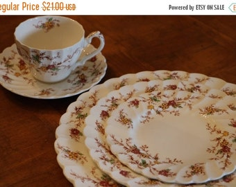 "SUMMER SALE Myott Staffordshire ""Heritage"" Red and Yellow Floral English Ironstone 5-Pc Place Setting