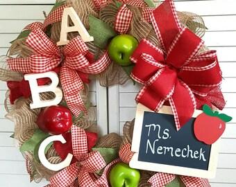 Back to School Wreath-Teacher Wreath-Burlap Teacher's Wreath-Classroom Wreath- Back to School Decoration