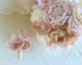 Fabric  boutonniere, groom boutonniere