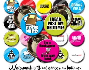 Book Lover Reading Librarian Pins 1.25 inch Pinback Buttons Pins Badges Book Club Pins Buttons Badges Fridge Magnets