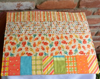 Vintage Quilt Placemats - UNUSED - Fish, Set of 4, Cotton Colorful Fabrics -1970 's - Beautiful!