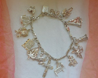Charm Bracelet, Sterling Silver - 14 Charms, 8 Inches - Vintage -Rare, Stunning!