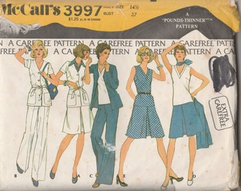 Vintage 1970's McCall's 3997 Size 14 1/2 Bust 37 Women's Half Size Jacket, Top, Skirt and Pants Sewing Pattern 1974 Uncut