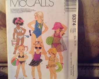 McCall's 9374 (6,7,8) Girls' Swimsuits, Coverup and Sarong 1998 UnCut
