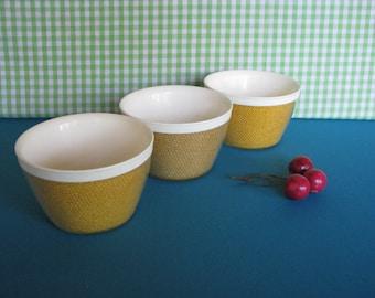 Raffiaware Bowls - Set of 3 - Mid Century - Bright Yellow - Ice Cream Bowls - Snack Bowls - Vintage 1960's