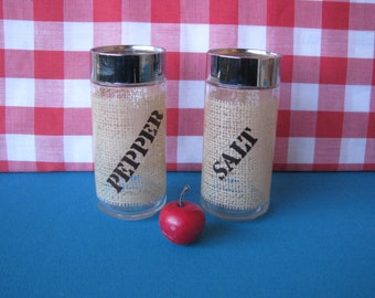Anchor Hocking Burlap Salt and Pepper Shakers - Large -  Vintage 1970's