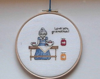 grandma gift. Completed cross stitch. Cottage chic decor. Hand embroidered Babyroom, nursery decoration. Housewarming gift Personalized gift
