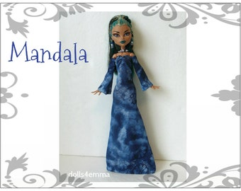 Monster High Nefera Doll Clothes Handmade Custom Medieval Fashion - Gown & Jewelry - by dolls4emma