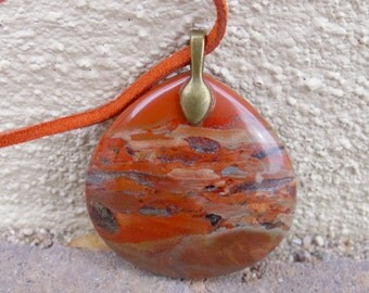 Flame Jasper Picture Stone Necklace