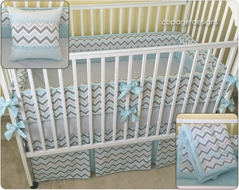 CRIB BEDDING SET: Mist & Gray Chevron Baby Bedding Set -- Includes Bumper Pads, Crib Skirt, Baby Blanket, Accent Pillow - Baby Boy Bedding