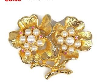 Faux Pearl Pink Rhinestone Double Flower Brooch