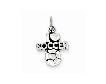 Sterling Silver Antique I (heart) Soccer Charm