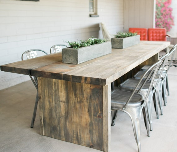the boss reclaimed wooden indoor outdoor rustic table made