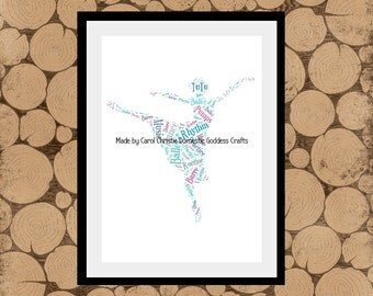 Dancer Word Art, Dance Word Cloud,Ballet Personalised Print, Dancer Themed Gift, Ballet Word Collage A4.Wall Art,