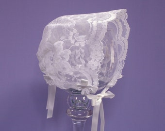 Lace Baby Bonnet, vintage Off-White lace, satin ribbons, sizes Preemie through Toddler 3