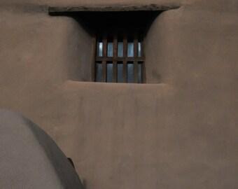 Puebla.   Santa Fe, New Mexico. Sanctuario de Guadalupe Adobe Mission Style Window Southwest Tan Fine Art Photography  8x10