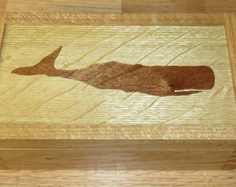 """Wood Marquetry Box, """"Whale"""""""