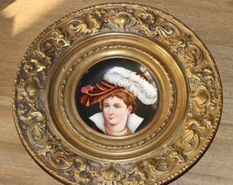 25% OFF Antique Hand Painted Plate set into an Embossed Brass Frame