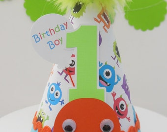 Lil' Monster Birthday Party Hat - Lime Green, Orange and Aqua Blue - Personalized