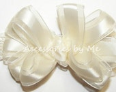 Frilly Ivory Headband Cream Satin Bow Lace Newborn Infant Baby Girls Accessory Wedding Party Baptism Christening Blessing New 1st Photo Prop