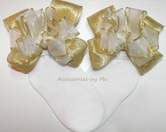 Fancy White Gold Socks, Organza Metallic Bow, Infant Baby Newborn Girls Toddler Accessories, Pageant Socks, Flower Girl, 1st Happy Birthday