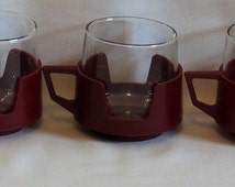 Three Retro Crown Pyrex Drinkups Glass Cups with Maroon Holders 1970's Vintage