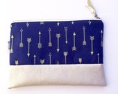 Arrow Clutch/Vegan Leather Zipper Pouch/Cosmetic Bag/Makeup Bag/Bridesmaid Gift