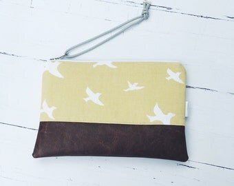 Canvas Wristlet/Vegan Leather Clutch/Purse/Gift for Her/Bridesmaid Gifts/Makeup Bag/