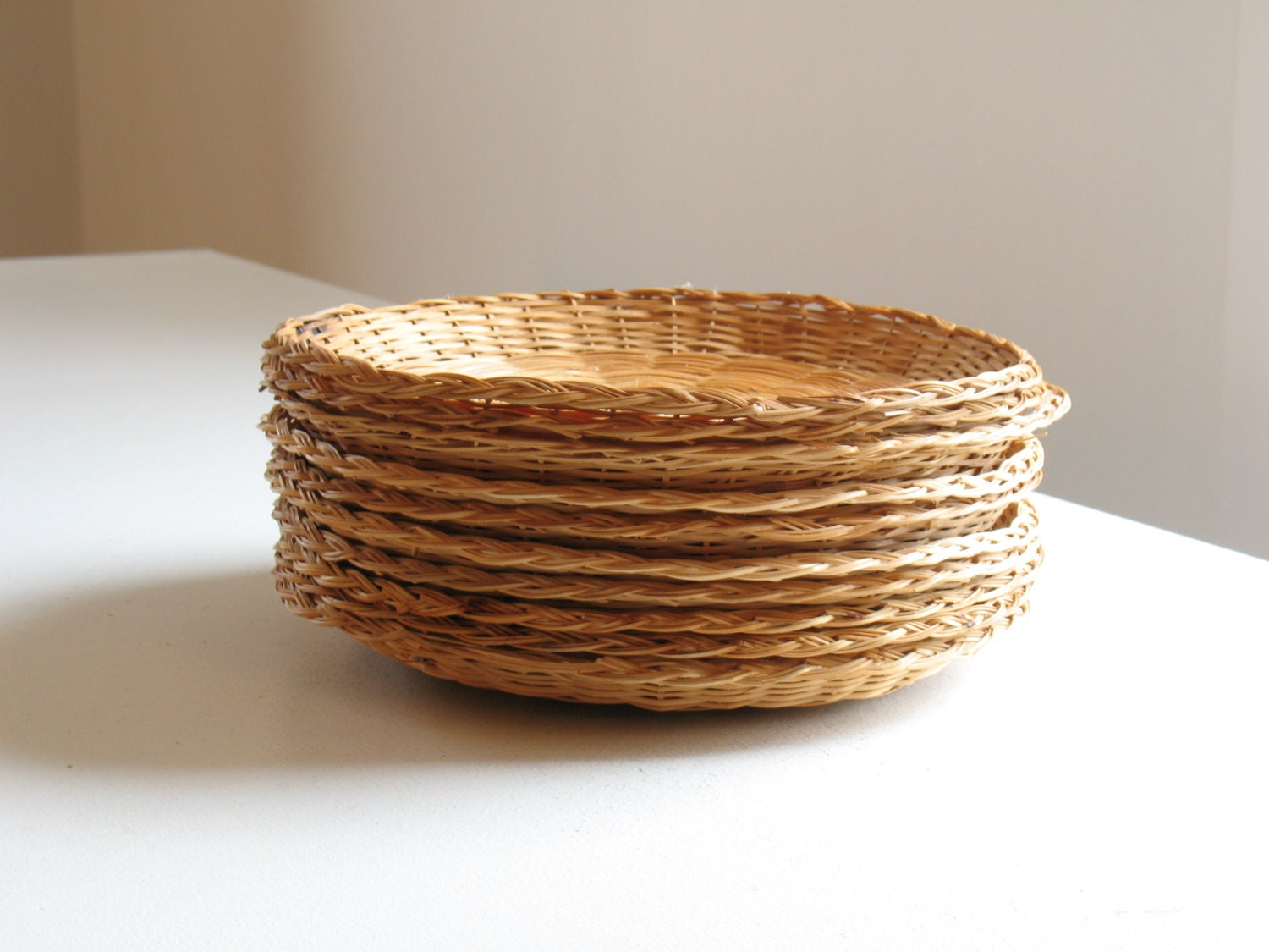 vintage wicker paper plate holders set of 10 woven rattan. Black Bedroom Furniture Sets. Home Design Ideas