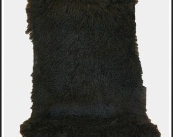 Glacier Wear Tibetan Lamb Fur Wool Blankets Plates Dyed Black