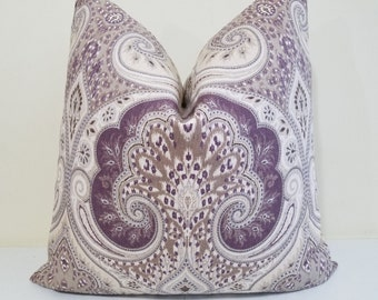 Kravet Ikat Pillow Cover - Plum, Tan, Gray , citrine Kravet Ikat -  Latika Ikat Designer Pillow - Sofa Pillow- Euro Sham