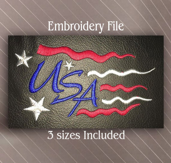 USA Flag Patriotic great for 4th of July Holiday Machine Embroidery Design File Instant Download
