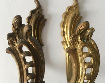 Beautiful Antique French Guilded Bronze Curtain Drapery Tie Backs