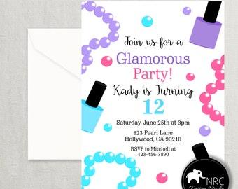Glam Party Invitation, Glam Birthday Invitation, Dress Up Invitation, Jewelry Invitation, Printable Invitation | NRCDesignStudio