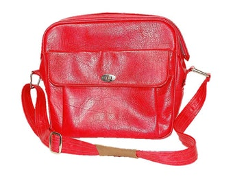 Red Samsonite, Vintage Bag, 70s Travel Bag,  Tote Bag, Luggage Bag, Shoulder Strap Case, Overnight Bag, Carry On Luggage, Carry On Bag