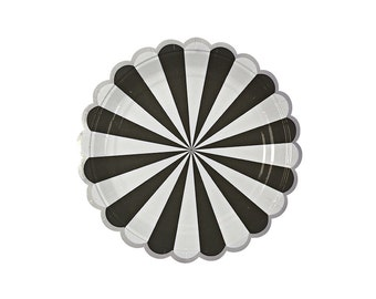 Toot Sweet Black Striped Paper Plates - 7 inch, Tableware, Party Supplies