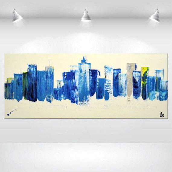 Large Acrylic Painting Abstract Wall Art Canvas Art Skyline Urban Blue