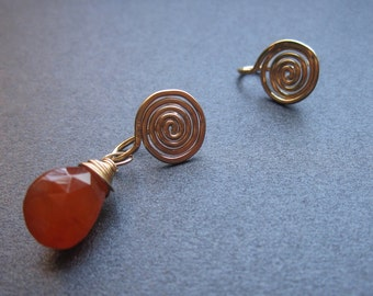 SPIRAL POSTS Hammered Mini Petite Interchangeable Earrings Sterling Silver, Gold Filled, Rose Gold Free Drops