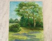 Vintage Landscape , Canvas Landscape , Original Painting Trees , Pastoral Scene