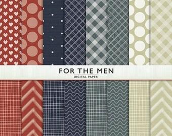 MEGA SALE Digital Paper - For The Men In Our Lives  - 16 Sheets  - Commercial  Instant Download Cardstock - G7033