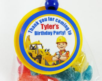 """Personalized Bob The Builder 1.75"""" Birthday Party Favor Tags"""