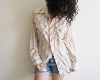 Vintage Distressed Cowboy Tan Cream Pink Striped Western Pearl Snap Button Shirt