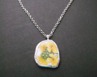 Broken China Plate Necklace - Handmade Yellow Flowers and Green Leaves necklace made from a recycled broken plate