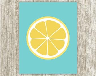 Lemon Printable Kitchen Printable Lemon Print Citrus Kitchen Print Fruit Kitchen Decor
