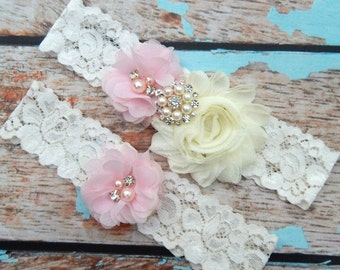 Your Color ,Blush Pink Wedding Garter Set , Wedding Garter , Blush Pink Garter , Garter , Toss Garter , Lace Garter Set , Bridal Garter
