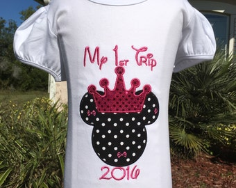 MINNIE MOUSE with Crown-My First Trip to Disney Personalized Embroidered-KIDS and Adults